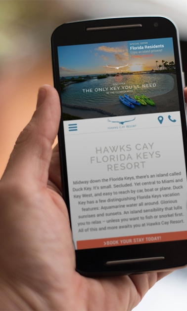 Smartphone showing Hawks Cay Resort website