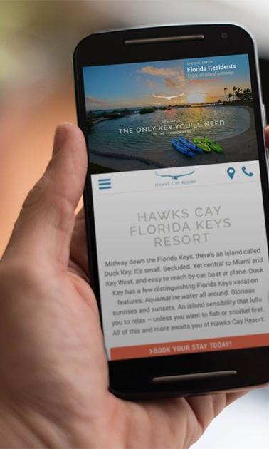 Smartphone showing Hawks Cay Resort website