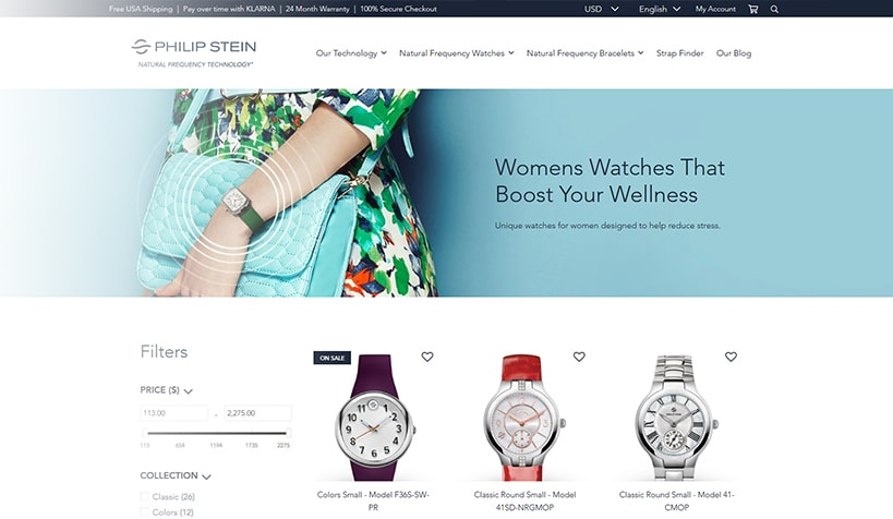 philip-stein-new-website-homepage-diaz-cooper-ecommerce